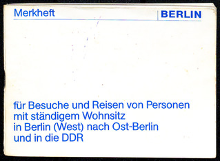 Merkheft für Besuche in der DDR