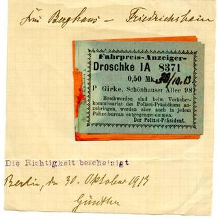 Fahrscheine für Droschkenfahrten
