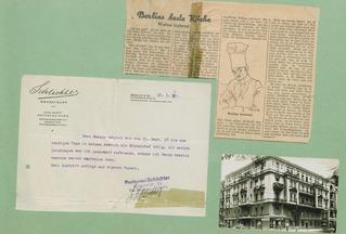 Postkarte, Artikel und ein Arbeitszeignis des Restaurants Schlichter