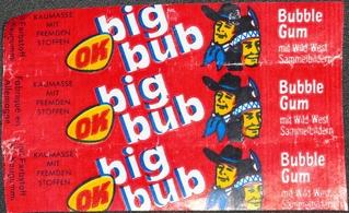 Kaugummipapier: OK-bigbub Bubble Gum mit Wild-West Sammelbildern